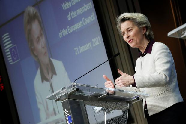 EU President Ursula von der Leyen said the EU-wide 'Digital Green Pass' would be proposed this month. Photo: Olivier Hoslet/Pool via REUTERS