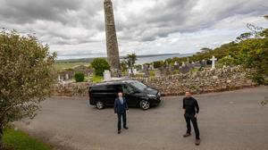 Pól Ó Conghaile pictured with Martin Wilde of Ireland Chauffeur Travel at Ardmore in Co. Waterford. Picture Dylan Vaughan.