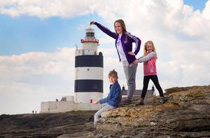 Pictured helping to launch the brand new Ireland's Ancient East Tour experience at Hook Lighthouse are Ryan Lynch (age 7), Molly Lynch (age 9) and Ava Lynch (age 6). Picture: Patrick Browne.
