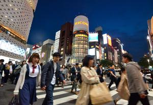 Crowds at a busy intersection in Ginza, Tokyo. Photo: Pól Ó Conghaile