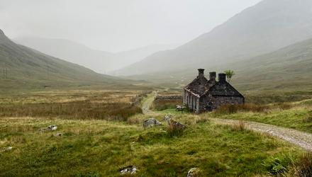 The West Highland Way passes by ruins of a stone house, Tigh-na-sleubhaich, between Kinlochleven and Fort William. MUST CREDIT: Photo for The Washington Post by Kathryn Streeter