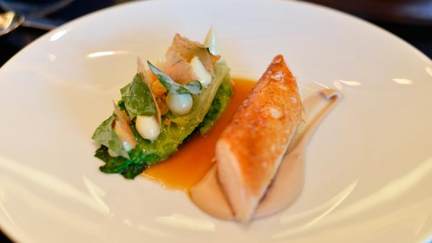 'Chicken cooked with lettuces' at Dinner by Heston in London. Photo: Pól Ó Congaile