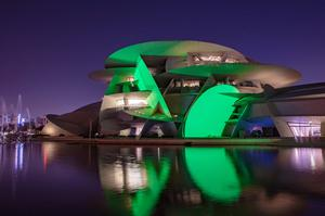 National Museum of Qatar in Doha, Qatar, joins Tourism Ireland's Global Greening initiative, to celebrate the island of Ireland and St Patrick. Pic – Jaber AlAzmeh