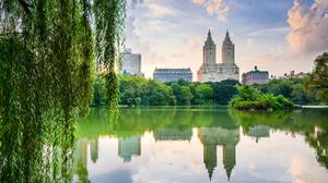 The Upper West Side skyline from Central Park. Two blocks to the left of the twin-towered San Remo building is the Dakota, outside which John Lennon was shot dead