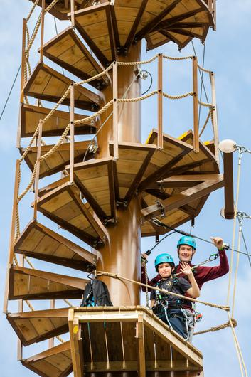 Brian Finnegan and his son Brian (11) from Dublin at the official launch of Center Parcs Longford Forest. Picture: Naoise Culhane