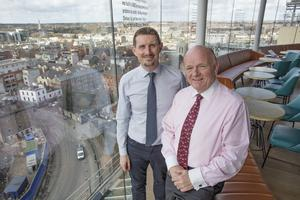 Pól Ó Conghaile with Paul Carty, Managing Director, Guinness Storehouse, at the new Gravity Bar in the Guinness Storehouse in Dublin. Picture: Arthur Carron.
