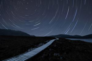 Star trails above the boardwalk at Ballycroy National Park, Co Mayo