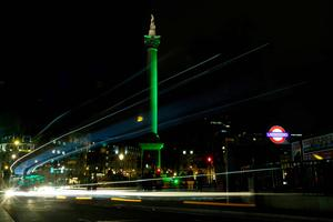 Nelson's Column in Trafalgar Square in London joins Tourism Ireland's Global Greening initiative, to celebrate the island of Ireland and St Patrick. Pic: David Parry/PA Wire