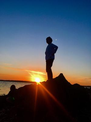 Rosemarie Mangan takes in a Wild Atlantic Way sunset in Belmullet, Co Mayo