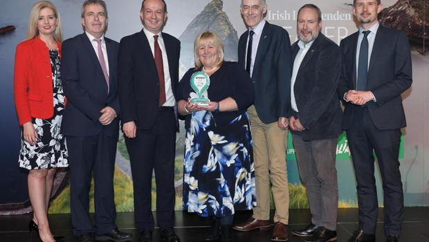 Ireland's Favourite Beach: Curracloe, Co Wexford. Sinead Ryan, Gerry Forde, Flavio Zappacosta from The Italian National Tourist Board, Cllr Mary Farrell, Hugh Maguire, Billy Byrne and Pól Ó Conghaile at the Irish Independent Reader Travel Awards 2020. Photograph: Fran Veale