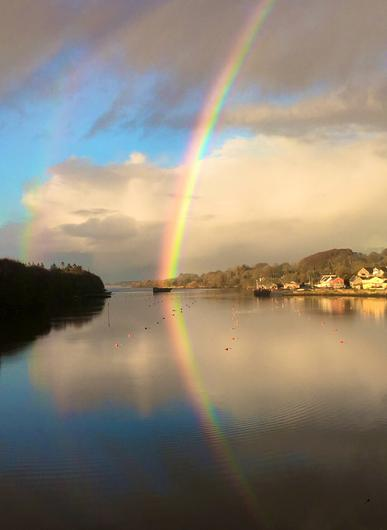 A rainbow on the banks of the River Moy, Co Mayo. Photo: Twitter / Helen Clifford (@HFClifford)