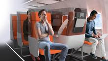 Prototype 'Janus' seating viewed from the front. Photo: Aviointeriors/PA.