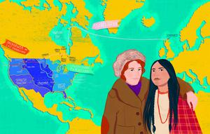 Isabel Gunn and Sacagawea. Illustration by Amy Blackwell for 'The Woman Who Rode A Shark' (AA Publishing)