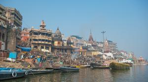 The 'ghats' or steps down to the Ganges, the 'eternal river', in Varanasi in India