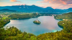 Lake Bled, surrounded by Julian Alps, in Slovenia