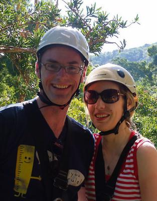 Brian and Rowena take a treetop canopy tour in the Tsitsikamma National Park.