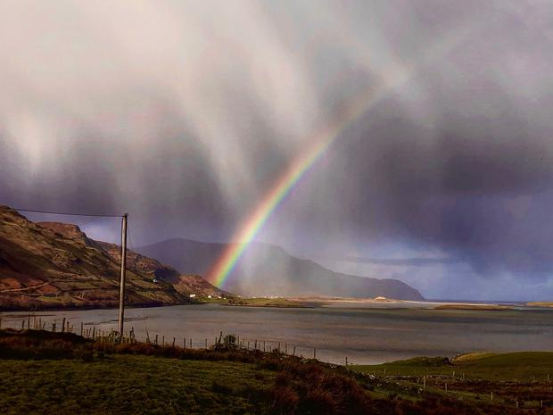 'Rainbow of Hope at Loughross Point, Ardara, Donegal.' Photo: Twitter / @WeeDogWalker