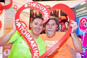 Eddie McGuinness and John Hawkins at The Outing stand, part of the Lisdoonvarna LGBT Music and Matchmaking Festival. Picture: Arthur Carron