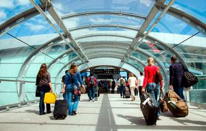 Passengers on their way to Dublin Airport's Terminal 2.
