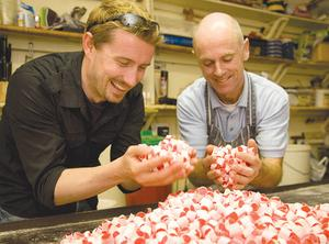 Pól gets stuck into some sweet treats with Tony Lineham at Shandon Sweets (the Exchange Toffee Works. Photo: Derek Cullen / Fáilte Ireland