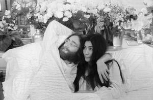 Beatle John Lennon and Yoko Ono at theid 'bed in' in Montreal in June, 1969. Photo: Getty