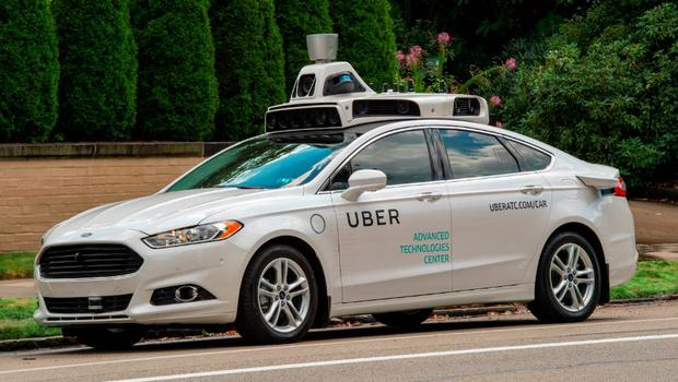 One of Uber's self-driving Ford Fusions. Photo: Uber