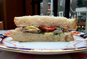 Pear, bacon and cheddar sandwich at The PepperPot in Dublin's Powerscourt Centre.