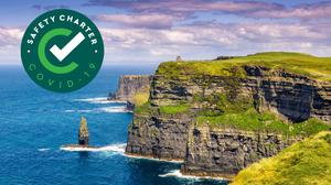 Composite Image: Fáilte Ireland's new Covid-19 safety charter, with the Cliffs of Moher (stock).