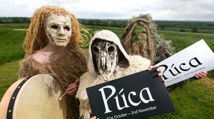 A caste of characters pictured on the Hill of Ward, Co. Meath at the announcement of Fáilte Ireland's new festival, Púca. Photo: Shane O'Neill, SON Photographic