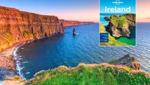 Lonely Planet's 2016 Ireland Guide (inset), with the Cliffs of Moher. Photo: Deposit