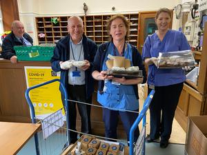 Staff at the National Maternity Hospital with a delivery from East Road Cafe. Photo: FeedTheHeroes.com