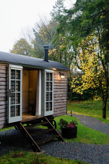 One of the shepherds' huts at Virginia Park Lodge