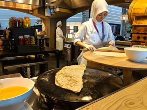Preparing gözlemes (buttery flatbreads) in Istanbul's new business class lounge