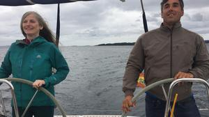 Catherine Murphy at the wheel with Skipper Fico sailing The Way
