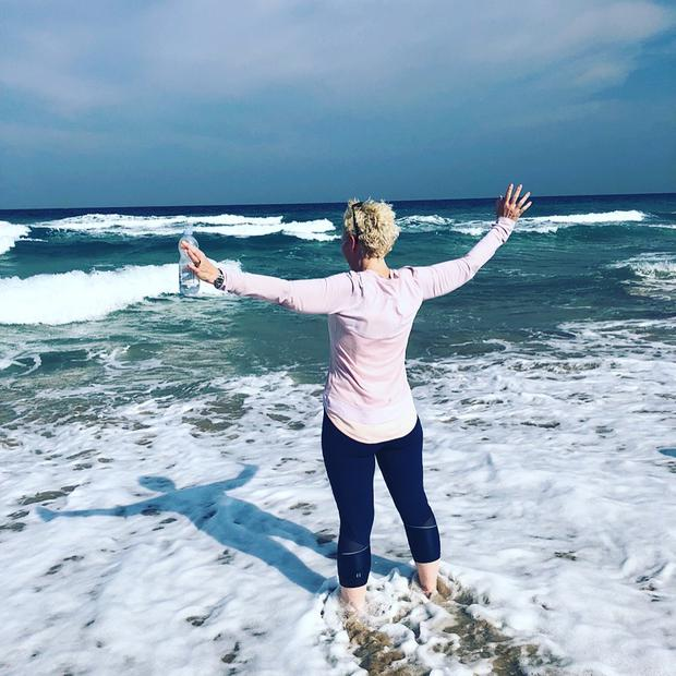 Puglia, Italy: 'My first run post-chemotherapy and mastectomy,' says Sheila Kissane. 'The waves lapping up my legs... it felt incredible to have the strength. My children cheered me on and meet me with open arms. Can't wait to return'. Photo: Twitter / @KissaneSheila