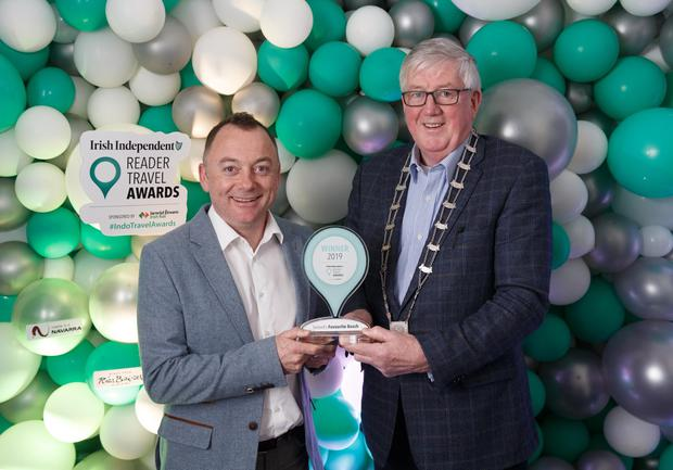 George Colfer and Cllr Willie Fitzharris of Wexford County Council at the Irish Independent Reader Travel Awards. Photo: Fran Veale