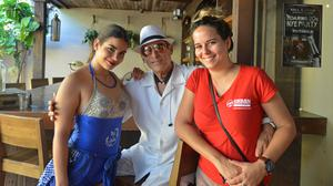 Zarelys Diaz (right), an Urban Adventures tour guide, with salsa dancers at the Ball & Chain bar in Little Havana