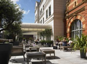 The front terrace at the Dylan Hotel in Dublin.