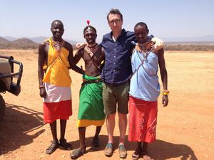 Jamie with members of the Samburu, a desert tribe who have lived in the region for millennia