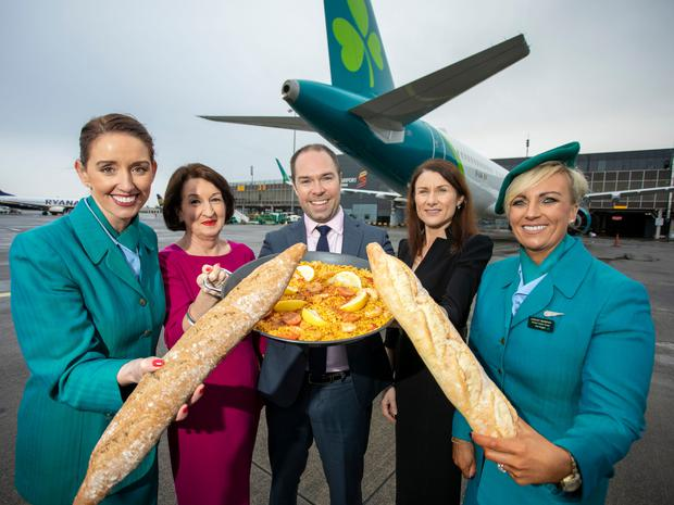 Stacey Browne, Aer Lingus, Rose Hynes, Chairman Shannon Group, Reid Moody, Chief Strategy and Planning Officer Aer Lingus, Mary Considine, CEO Shannon Group and Lesley Murphy, Aer Lingus at the announcement of the airline's new services. Photo: Arthur Ellis.