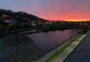 'The sun rising over Cork City this morning. A beautiful picture taken by Joe from the penthouse of Kingsley Hotel...' Photo: Twitter / @KingsleyHotel