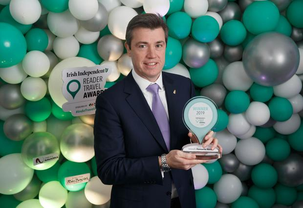 JP Kavanagh, General Manager, The Shelbourne - voted Ireland's Favourite Hotel, at the Irish Independent Reader Travel Awards. Photo: Fran Veale