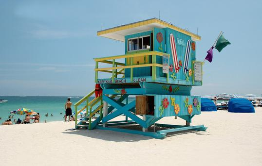 View of Colorful Lifeguard Tower in South Beach
