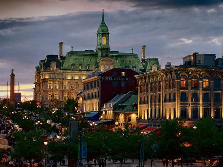 Cosmopolitan vibe: Place Jacques-Cartier in the oldest area of Montreal and, inset, the city's skyline as seen from Parc Jean-Drapeau.