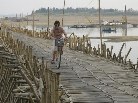 Cycling across the Mekong River, Cambodia