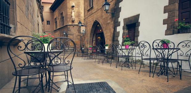 Old Town: The Poble Espanyol in Barcelona, traditional architecture in the heart of the bustling city.