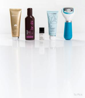 Pictured, from left, Elemis Tan Accelerator; He-Shi Rapid 1-Hour Liquid Tan; Chanel Le Vernis in Eastern Light; Lancome Exfoliance Clarte; Scholl Velvet Smooth Express Pedi