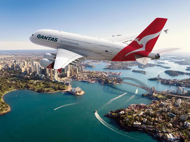 A Qantas A380 flies over Sydney, Australia