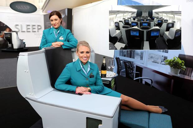 Aer Lingus cabin crew members Claire Sutton and Catherine McDonnell at the launch of the airline's new Business Class.