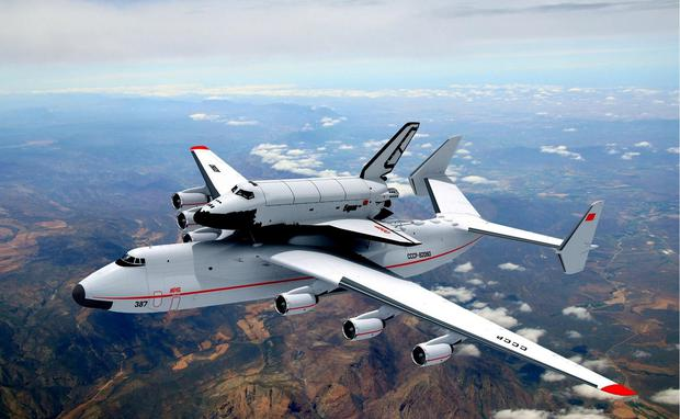"""The Antonov 225 was designed to carry the Russ Russian space shuttle """"Buran"""""""